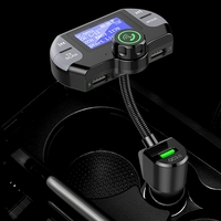 NEW Dab Bluetooth Fm Transmitter,Wireless Radio Adapter Hands Free Car Kit with Display, Qc3.0 and Smart 2.1A Usb Ports, Aux Inp