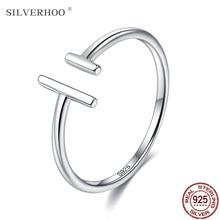 Silverhoo autêntico 925 anéis de prata esterlina para as mulheres minimalista aberto ajustável dedo anéis feminino jóias finas nova chegada
