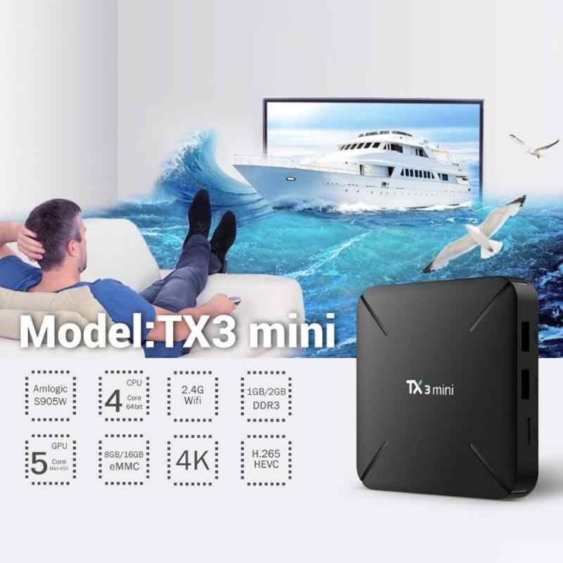 TX3 mini Smart TV Box avec télécommande 1 + 8G/2 + 16G Android7.1 Amlogic S905W décodeur KODI 17.6 WiFi lecteur multimédia prise américaine/ue
