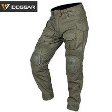 Idogear g3 combate calças com joelheiras airsoft militar tático cp gen3 gama verde ct algodão polyster
