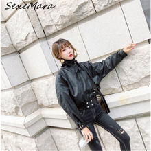 Уличная короткая модная куртка из искусственной кожи размера плюс, 2019 свободная черная зимняя куртка для женщин