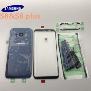 Image 2 - סמסונג גלקסי S8 G950 G950F S8 + בתוספת G955 G955F חזרה זכוכית כיסוי אחורי סוללה כיסוי דלת עם מצלמה עדשה + קדמי זכוכית עדשה