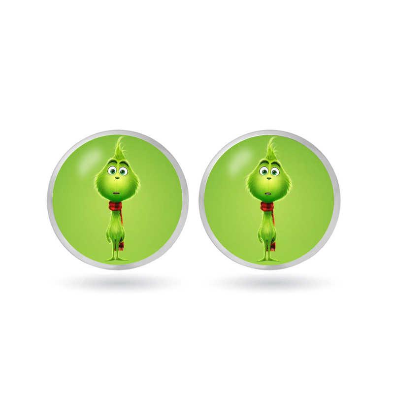 Grinch Stud Anting-Anting Kaca Lingkaran Hewan Anting-Anting untuk Grinch Anime Perhiasan Anak Mainan Hadiah Natal Flash