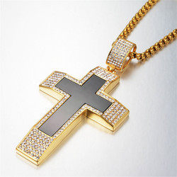Hiphop Chains Iced Out Bling Big Jesus Cross Pendant Necklaces for Men Gold Color Stainless Steel Zirconia Hip Hop Jewelry