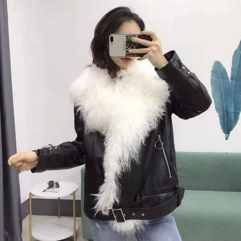Real Sheepskin Coat With Oversized Mongolia Sheep Fur Collar Genuine Leather Jacket Duck Down Filler Parka Thick Warm Overcoat