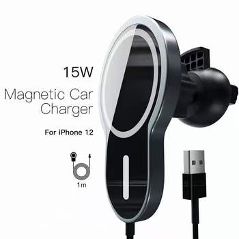 15W Fast Charging Magnetic HaloLock Magnetic Wireless Car Charger Mount for iPhone 12 Pro Max Wireless Charger Car Phone Holder image