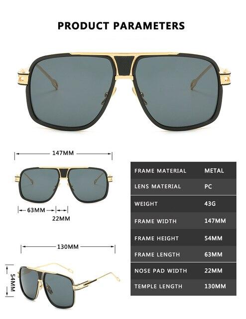 Gafas De Sol con gradiente De Metal para hombre y mujer, anteojos De Sol con montura cuadrada, De marca De diseñador, Estilo vintage, en color negro De talla grande 3