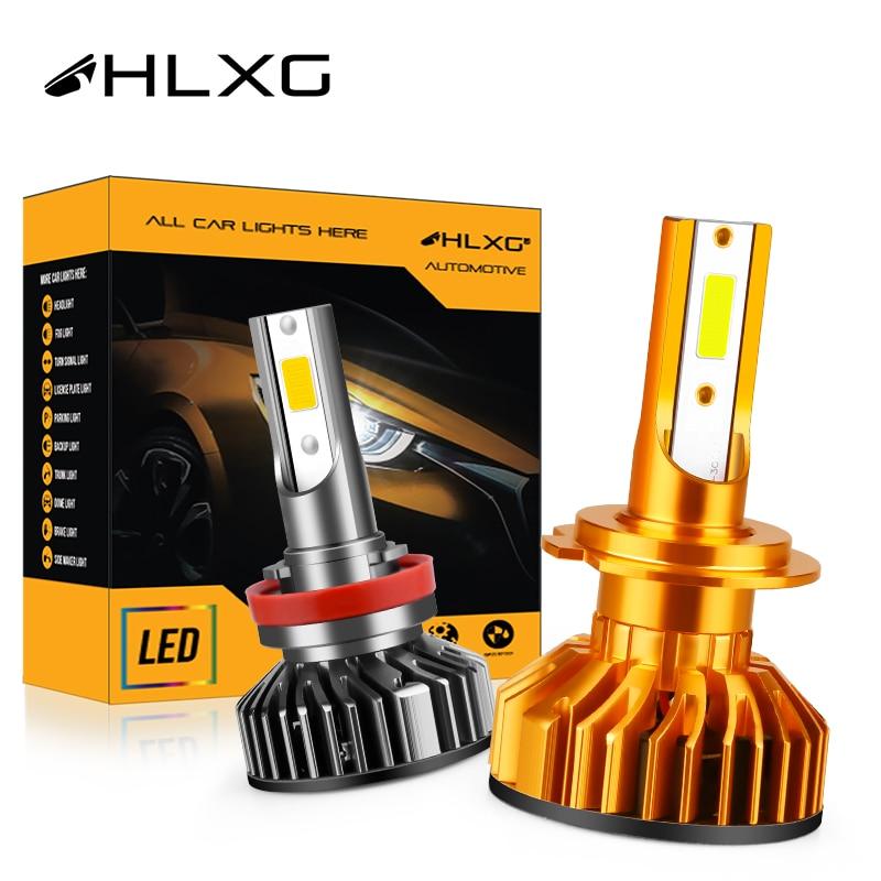 HLXG мини Canbus лампада H4 светодиодный H7 9005 HB3 9006 HB4 H8 H11 автомобильные лампы для передних фар 10000LM теплый белый декодер дальнего освещения 12V