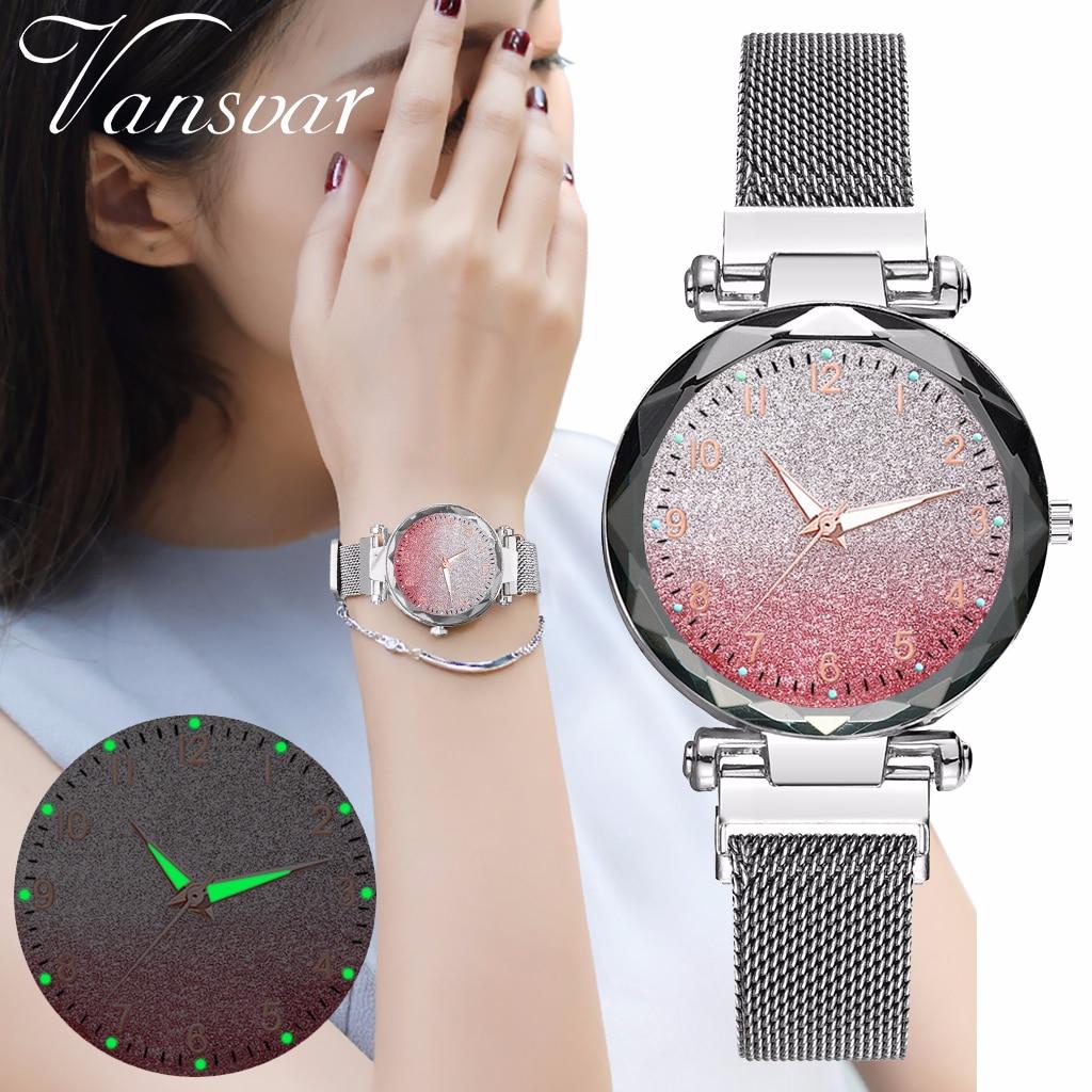 Women Magnet Buckle Gradient Starry Sky Watch Luminous Arabic Numbers Watch Luxury Ladies Stainless Steel Quartz Watch