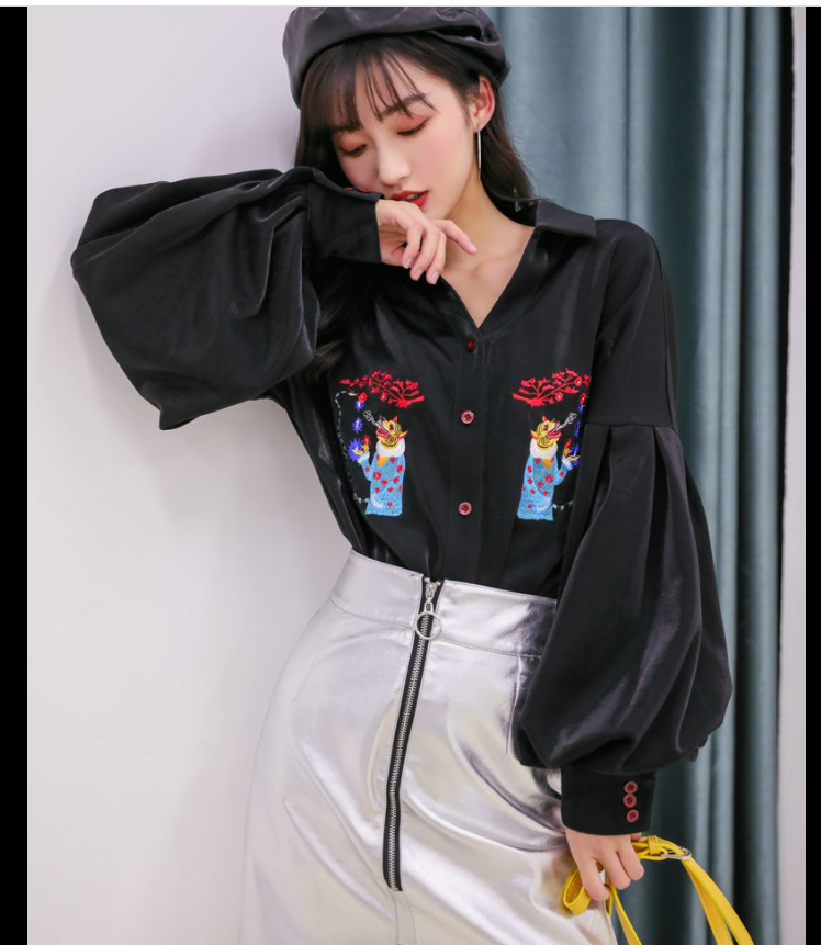 Black Blouse Women Puff Sleeves Elegant Stand Collar Blouse Shirt Fashion Vintage Chic Shirt