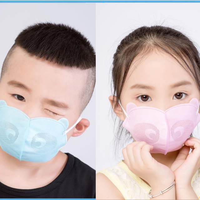 6Pcs Cute Panda Shape PM2.5 Mouth Mask For Kids Children Anti Haze Dust Mask Nose Filter Face Muffle Bacteria Flu Respirator