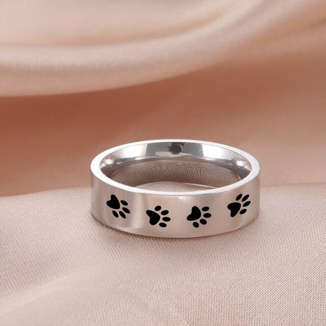 Dog Steel Footprints Rings  1