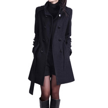 Women Autumn Winter Woollen Coat Long Sleeve Turn-down Collar Oversize Double Breasted Jacket Elegant Overcoats Loose Plus Size cheap ISHOWTIENDA Casual Polyester trench coat long coat moda feminina trench coat for women casaco feminino women jacket trench coat femme