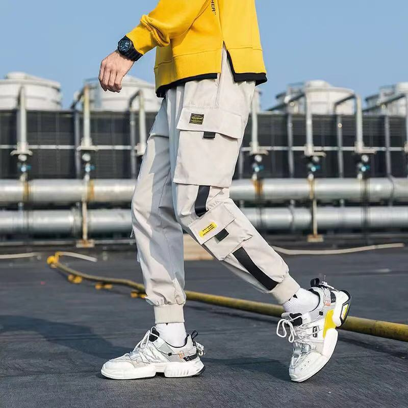 Hip Hop Men Streetwear Military Pants Patchwork Pocket Side Striped Joggers Sweatpants Cuffed Ankle Length Trousers For Male