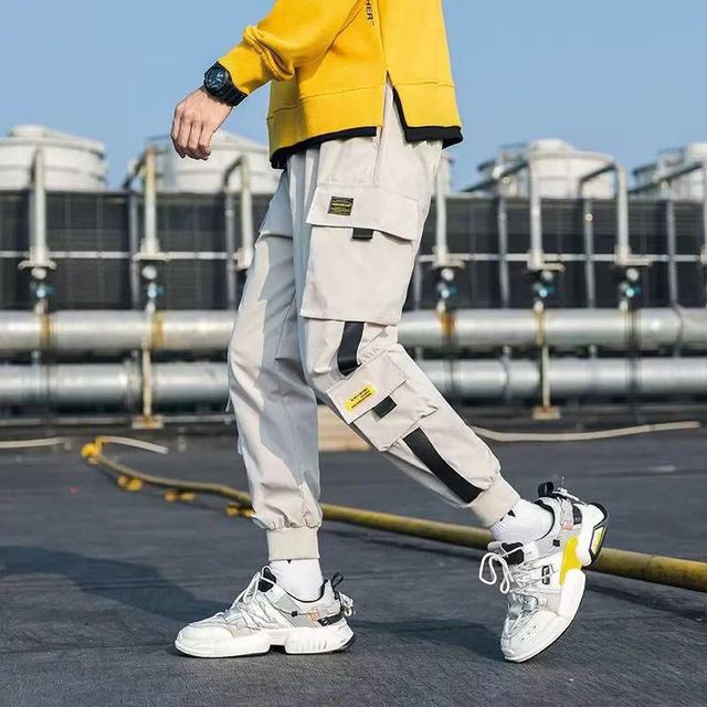 Hip Hop Men Streetwear Military Pants Patchwork Pocket Side Striped Joggers Sweatpants Cuffed Ankle Length Trousers For Male 37