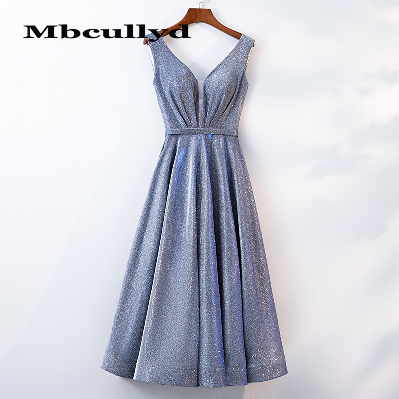 Mbcullyd Amazing Sequined Prom Dresses 2020 Sexy V-neck Short Cocktail Party Gowns For Girls Formal Vestidos De Fiesta De Noche