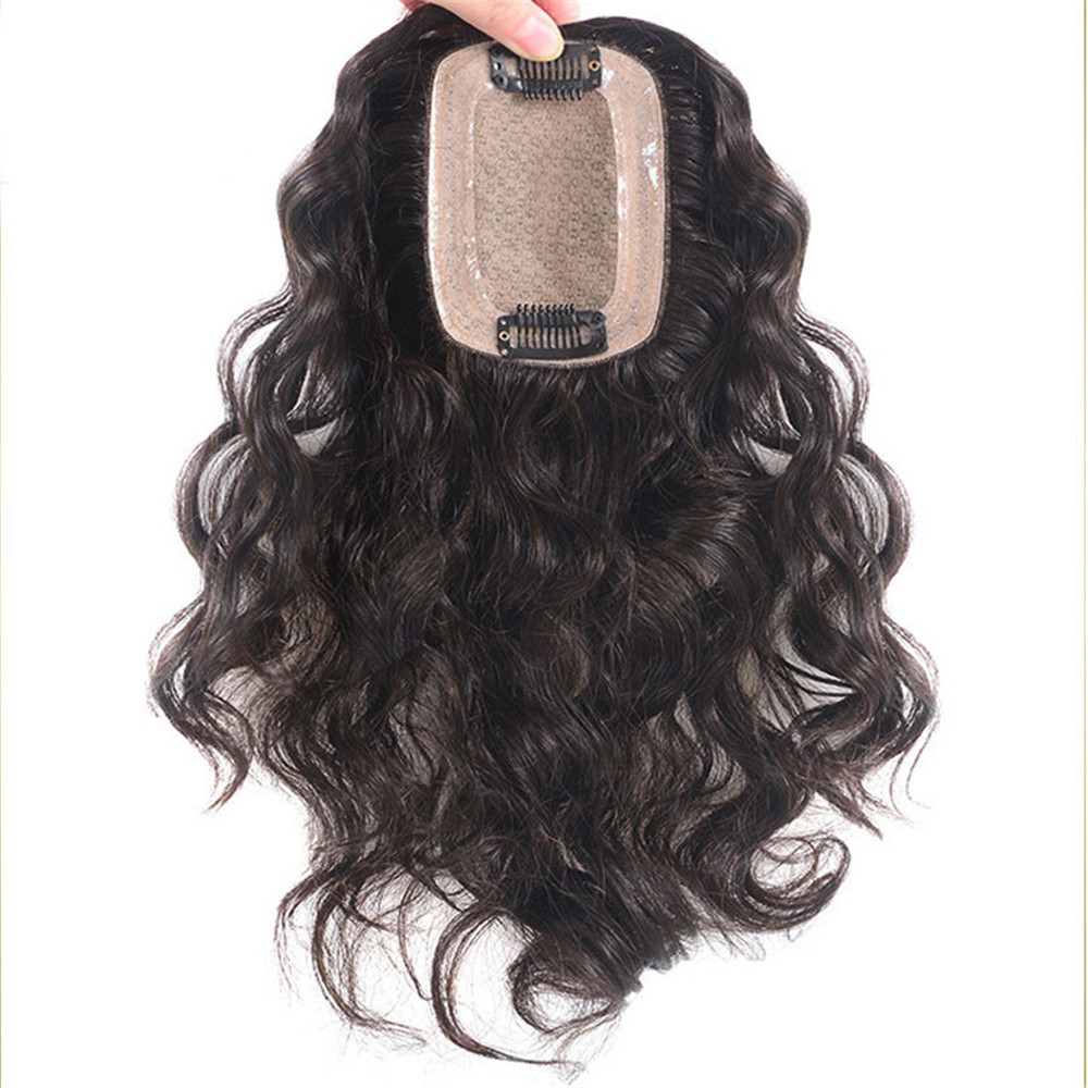 BYMC Peruvain Human Hair Toupee For Women 7*10 Lace With Silk Base Replacement System Loose Wave With Clips Cover White Hair