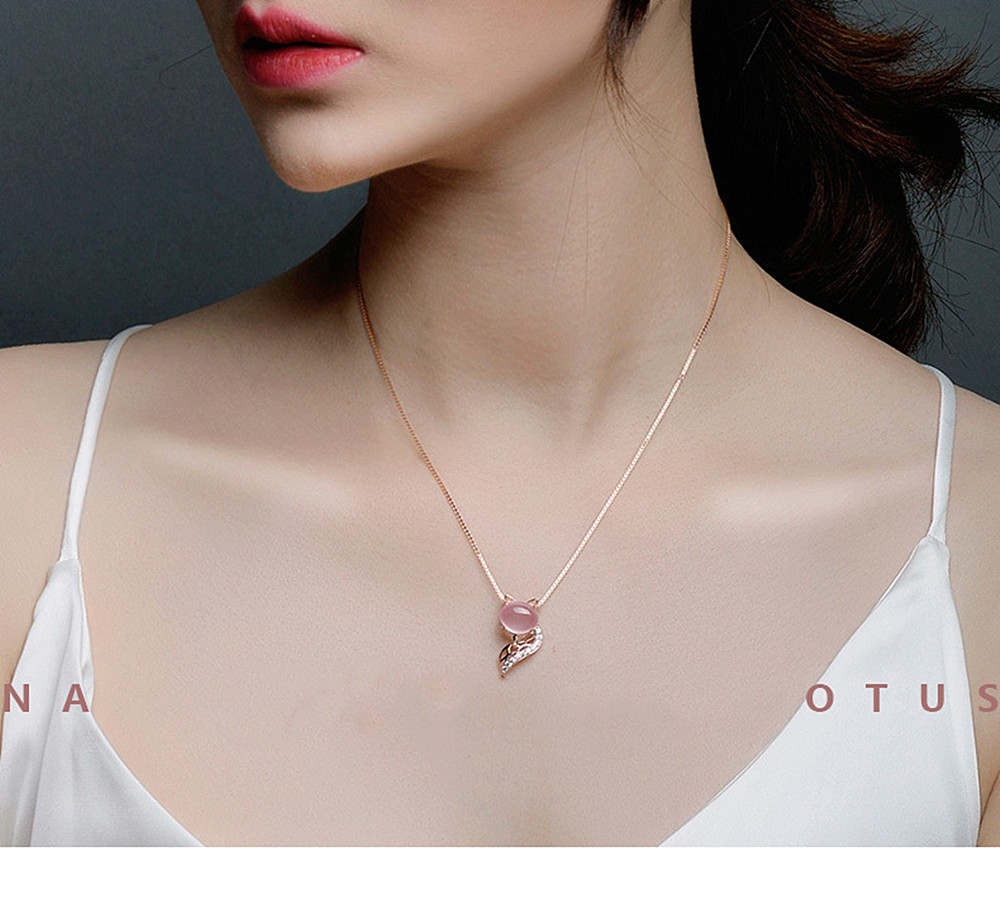 Fashion cute fox pink crystal zircon diamonds gemstones pendant necklaces for women rose gold color jewelry bijoux choker gifts
