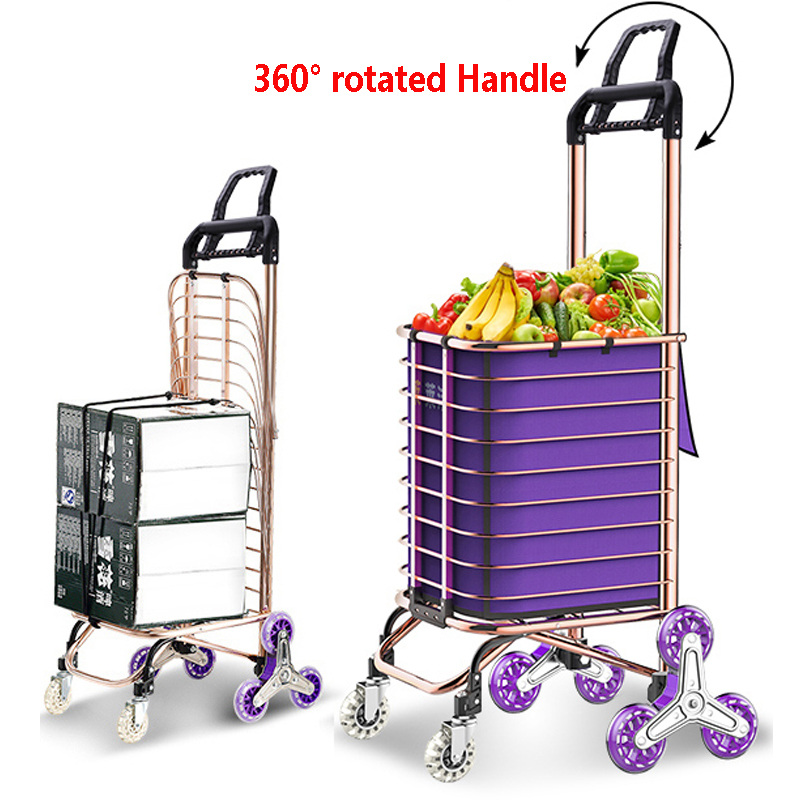 Shopping Small Cart,Portable Household Trolleys Elderly Supermarket Folding Luggage Cart Color : B