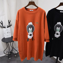 Street Hoodie Dress Women 2020 Spring 100% Cotton Loose Sweatshirt Plus Long Kawaii Cartoon Graphic Pullover Coat Teens(China)