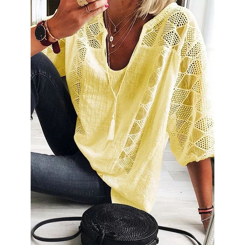 2021 New Summer Women Blouse Hollow Out Casual Loose Female Shirt Fashion Solid Pullover V Neck Women Blouse Tops Plus Size 5XL