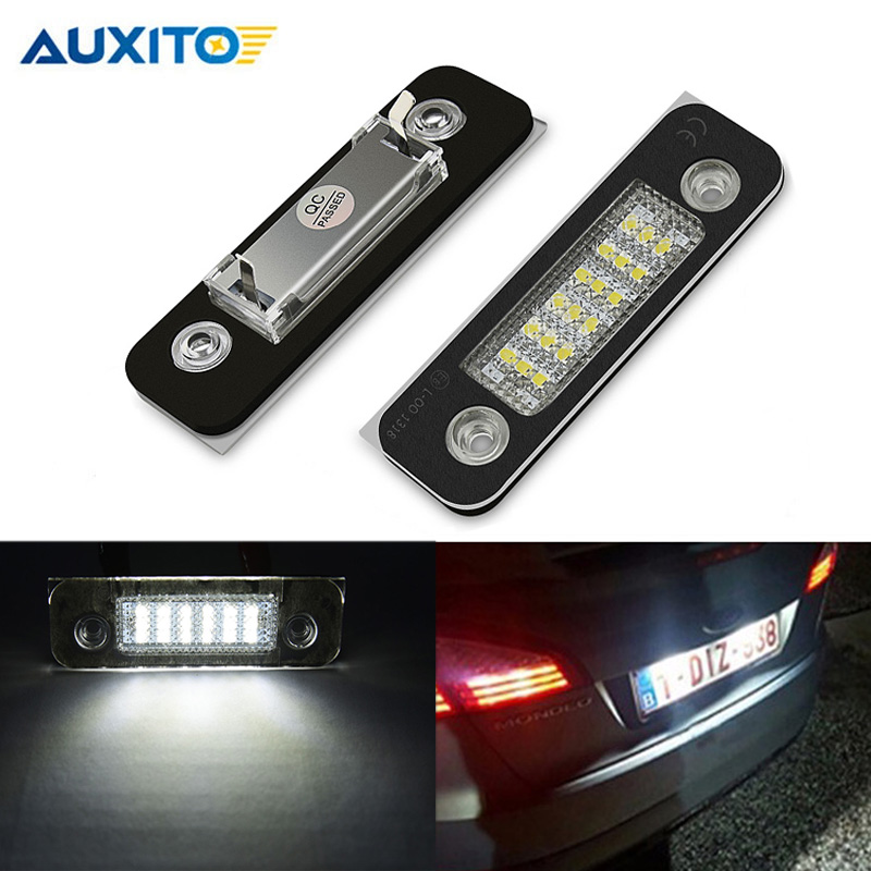 2pcs Canbus White LED License Plate Light Number Plate Lamps Fit For <font><b>Ford</b></font> Fusion <font><b>Fiesta</b></font> Mondeo No error Auto <font><b>accessories</b></font> image