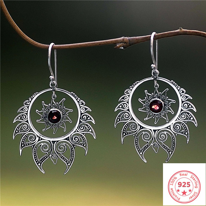 Earring Jewelry Topaz Exaggerated Garnet Gemstone Silver 925 Retro Solid-925-Sliver Oreja title=