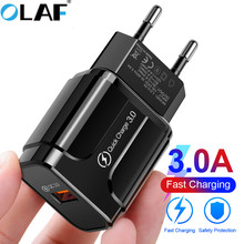 OLAF 18W QC 3 0 USB Mobile Phone Charger For Redmi note 7 iPhone X MAX 7 Xiaomi 8 EU US Plug Fast Adapter For Samsung Huawei p20 cheap Travel A C Source ROHS QC 3 0 usb charger Qualcomm Quick Charge 3 0 100-240V 0 6A Black White US EU Fast charger QC 3 0 usb charger