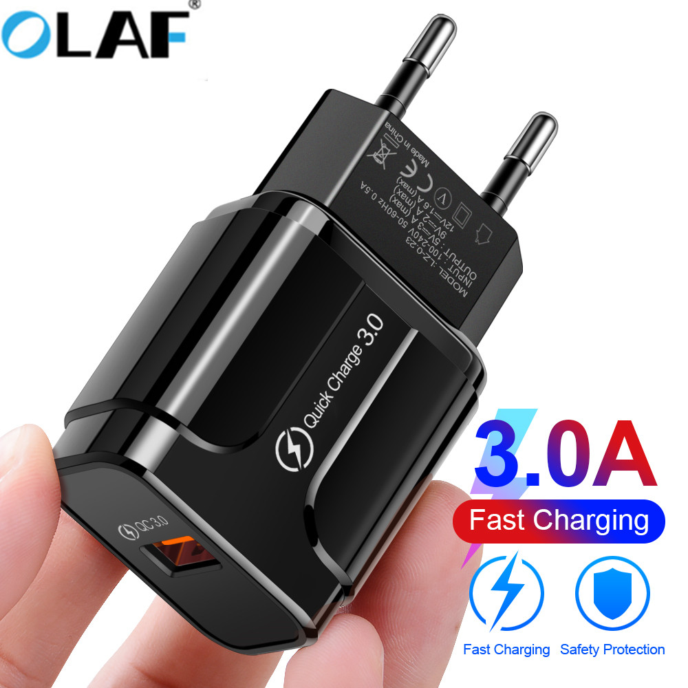 OLAF 18W QC 3.0 USB Mobile Phone Charger For Redmi note 7 iPhone X MAX 7 Xiaomi 8 EU US Plug Fast Adapter For Samsung Huawei p20(China)