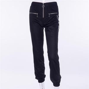 Image 2 - Vangull harajuku zipper streetwear women casual harem pants with chain New solid black pant cool fashion hip hop long trousers