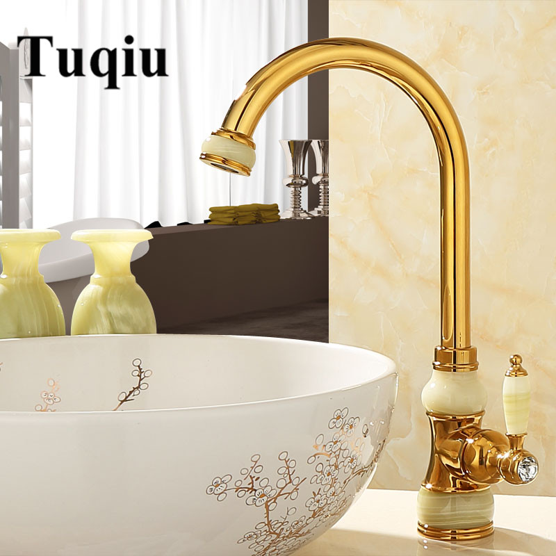 Tuqiu Kitchen Faucet Gold Jade And Brass Sink Faucet Hot And Cold Water Mixer Luxury Basin Sink Mixer Tap Wash Basin Faucet