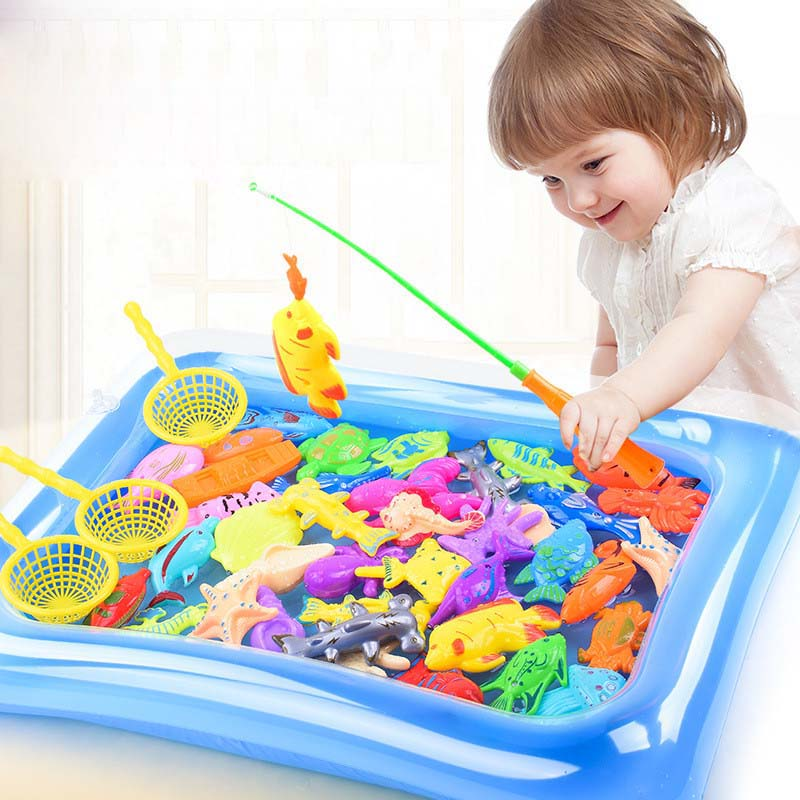 22pcs Kids Fishing Toy Play Water Baby Toys Magnetic Fish Pool Indoor Parent-child Interactive Toys Game