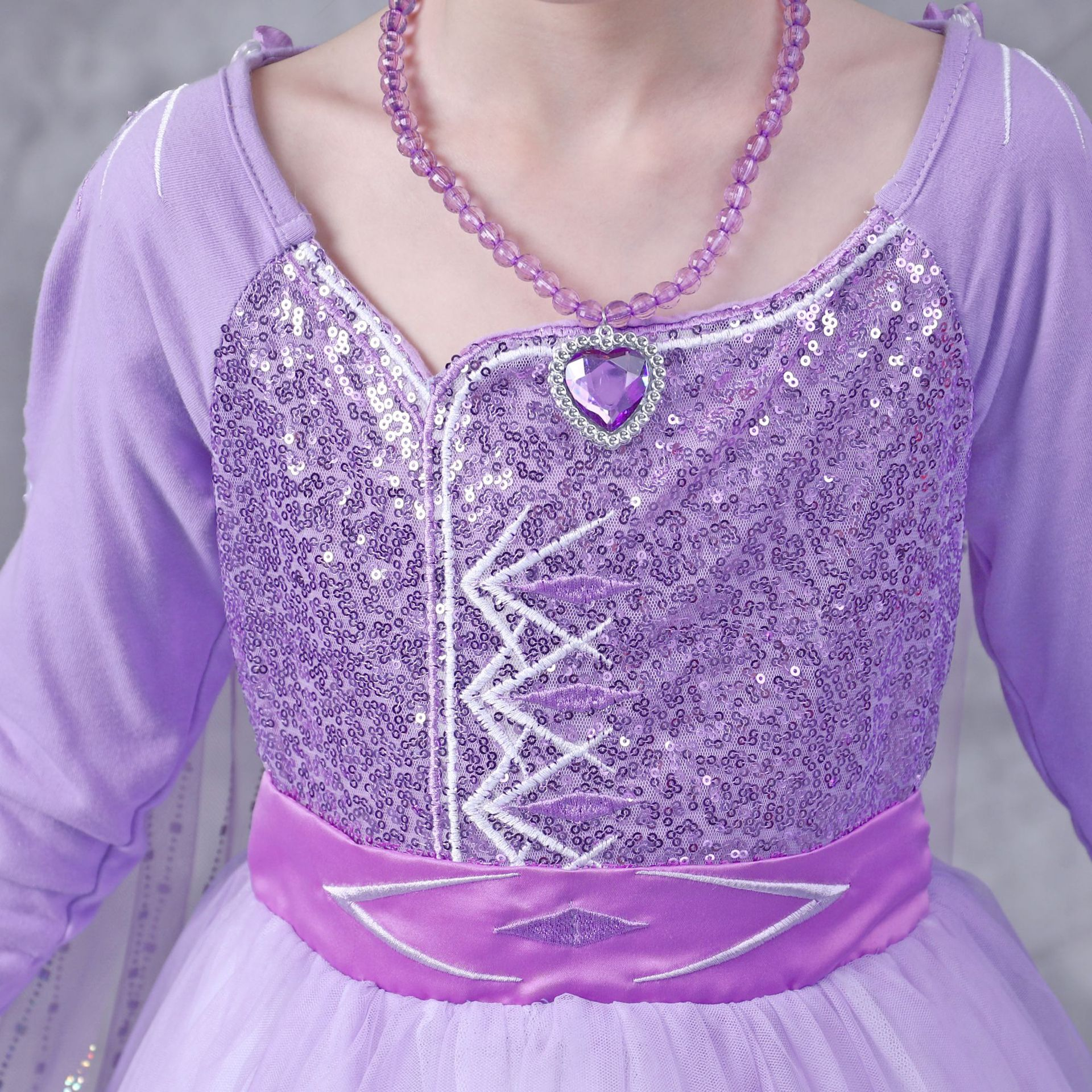 Girls Elsa Anna Long Hair Tangled Princess  Dress Sequins Fancy Cosplay Costume Purple Ball Gown Christmas Birthday Party  kids 6
