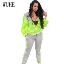 WUHE Newest Sportwear Running Clothing Tracksuit Elegant 2 Pieces Sets Hooded Zipper Lace-up Fitness Jumpsuits Casual Overalls