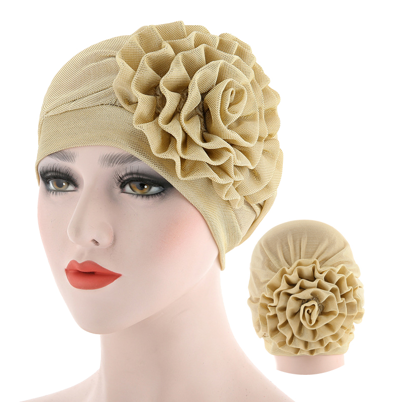 Fashion Flower Turban Hijab Bonnet Solid Color Cotton Muslim Woman Wrap Head Inner Hijab Caps Turbantes Femme Musulman