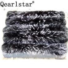 Qearlstar 2019จริงRaccoonปลอกคอขนสัตว์ขนสัตว์สีดำผ้าพันคอผู้หญิงฤดูหนาวParkaแจ็คเก็ตReal Fur Hood 70*12ซม.Zxx122