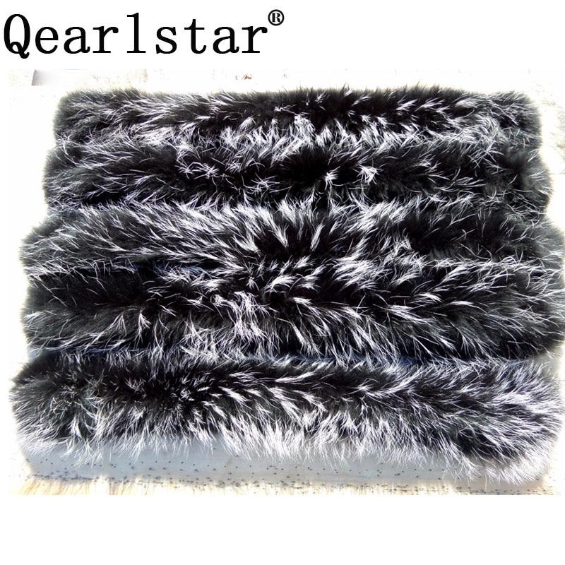 Qearlstar 2019 Real Raccoon Fur Collars Black Fur Scarf Women Winter Coat Parka Jackets Real Fur Hood Trim Collar 70*12cm Zxx122-in Women's Scarves from Apparel Accessories