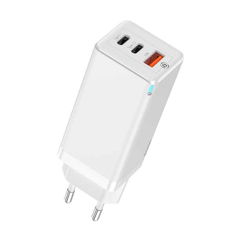 Быстрое зарядное устройство Baseus 65 Вт GaN с быстрой зарядкой 4,0 3,0 AFC SCP USB PD зарядное устройство для iPhone 11 Pro Macbook Pro Xiaomi samsung huawei - Тип штекера: White