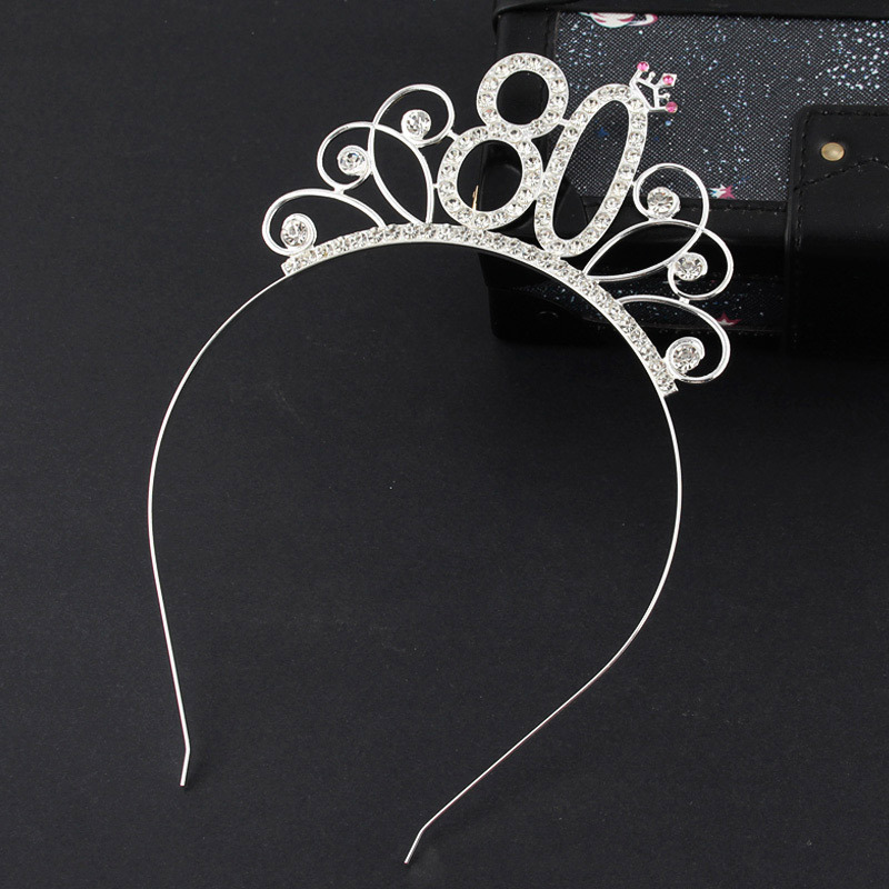 80 Birthday Party Crystal Tiara Crown Birthday Queen Headband Hair Accessories for Women Happy 80th Birthday Party Decorations-in Party DIY Decorations from Home & Garden