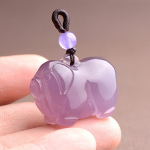 Jade Pendant Necklace Agate Zodiac Hand-Carved Purple Natural Fashion Women Emperor Pig