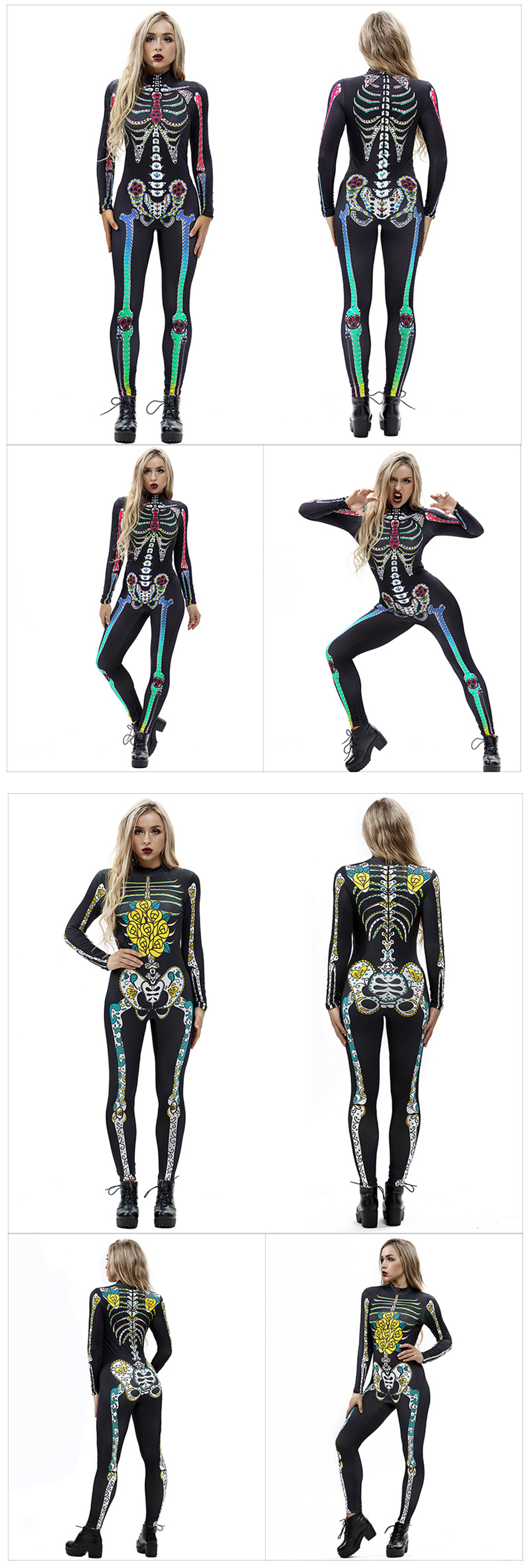 Hce5ac0989a48465e98109b30aa0c41eaE - 8Style Halloween Cosplay Costumes for Women Adult Scary Skeleton Bodysuit Print Long Sleeve Carnival Party Ghost Skull Dress