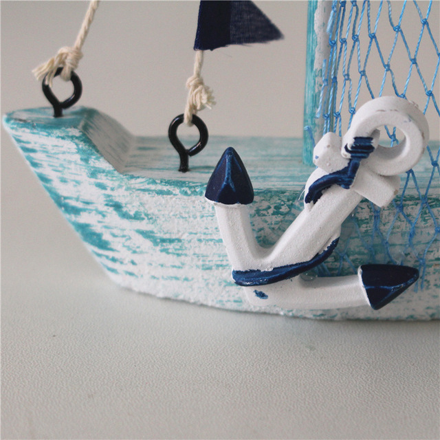 15cm Mediterranean Style Marine Nautical Wooden Blue Sailing Boat Ship Wood Crafts Ornaments Party Room Home Decoration 6