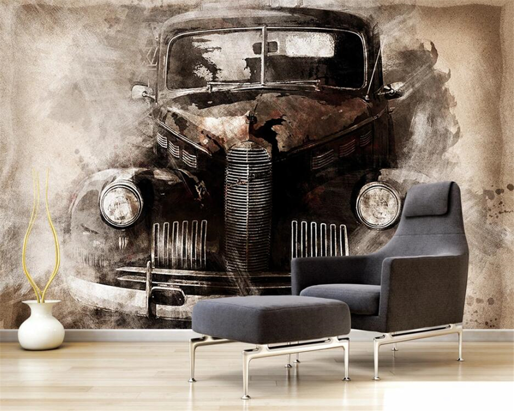 beibehang papel de parede Customized modern fashion ink European style nostalgic retro classic <font><b>car</b></font> background <font><b>wallpaper</b></font> image
