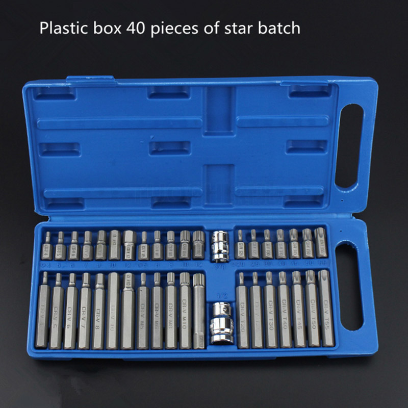40pcs Set Torx Inner Hexagonal Star Batch Wrenches Set car Household Hand Tool Kits Set Multifunctional combination tools sets