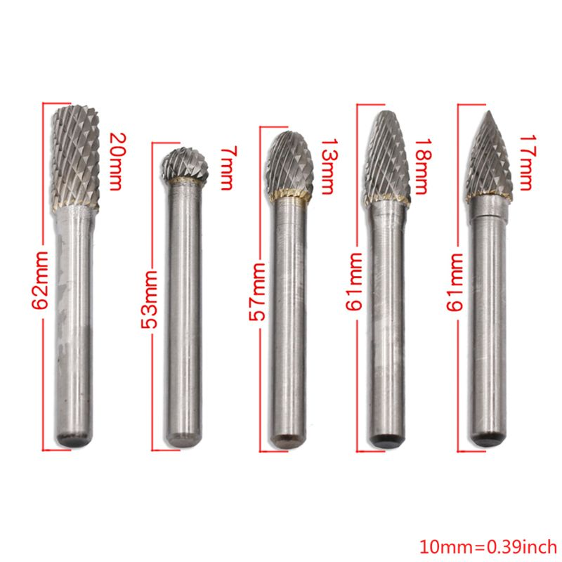 Carbide Burrs 5pcs 1/4 Shank 8mm/12mm Double Cut Tungsten Rotary File Cutting Burs Tool Die Grinder Bits