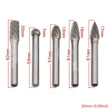 Carbide Burrs 5pcs 1/4 Shank 8mm/12mm Double Cut Tungsten Carbide Rotary File Cutting Burs Tool Rotary Burrs Die Grinder Bits