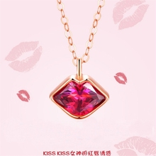 цены Hot Sale Korean Style Kiss Red Lip 925 Sterling Silver Chocker Statement Necklace Golden Vogue Crystal Pendant Women Accessories
