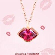 Hot Sale Korean Style Kiss Red Lip 925 Sterling Silver Chocker Statement Necklace Golden Vogue Crystal Pendant Women Accessories
