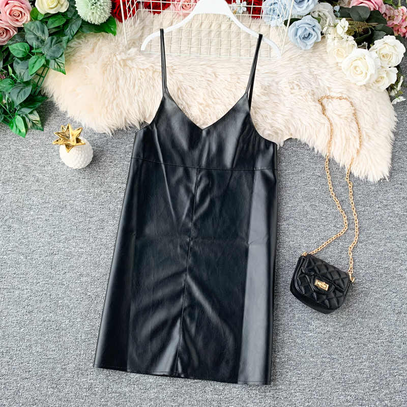 2019 חדש אביב קיץ אופנה עור מפוצל שמלת נשים מיני סקסי שמלת רוכסן שחור רצועת שמלות קיצי vestido דה festa טהור