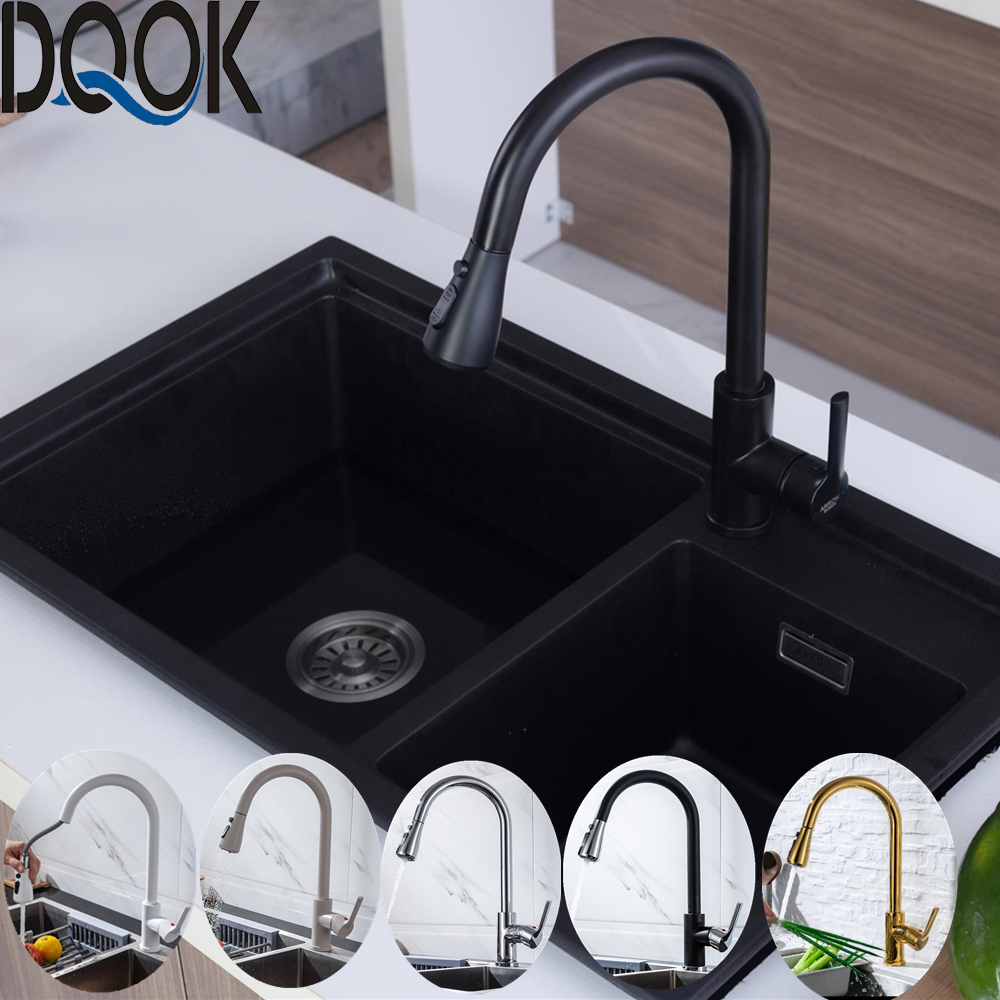 Kitchen Faucets Blacked Single Handle Pull Out White Kitchen Tap Single Hole  Swivel 360 Degree Brushed Nickle Water Mixer Tap